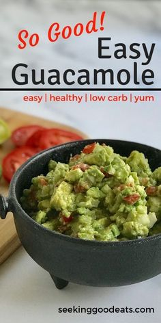 Easy Fresh Homemade Guacamole - Guacamole is an easy healthy snack to make! This healthy guacamole recipe makes a great appetizer that is fresh, low carb, and ketogenic. This low car. Authentic Guacamole Recipe, Guacamole Recipe Easy, Homemade Guacamole, Low Sodium Guacamole Recipe, Low Carb Appetizers, Great Appetizers, Appetizer Recipes, Appetizer Ideas, Healthy Snacks