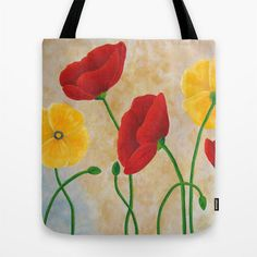 Awesome go everywhere tote! Poppy Print Tote Large Fabric Tote by nJoyArt on Etsy, $30.00 #art #tote #poppy
