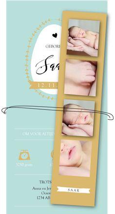 Geboortekaartje met fotostrip extra leuk zelf gemaakt