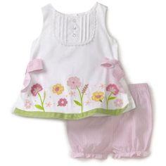 Hartstrings Baby-Girls Infant Sateen Top And Seersucker Short Set