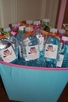 slumber party, birthdays, themes, kids, parties, ideas, sleep over, sleepover, water bottles