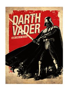 Star Wars - C-3PO - R2-D2 - Darth Vader - Boba Fett - Yoda - Luke Skywalker silueta Vintage Poster Print Set de 6
