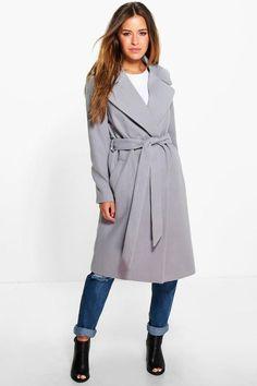 boohoo Petite Anna Oversized Collar Belted Robe Coat