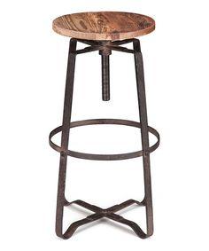 Distressed Natural Wilde Bar Stool by Zuo Modern #zulily #zulilyfinds