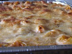 This rich casserole has the flavors of lasagna without the work. It's perfect for a Sunday dinner.  Baked ziti with ricotta