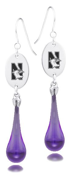 Northwestern Wildcats Glass Drop Earrings, are genuine Fenton Art Glass drop earrings combine high quality hand made glass drops with a solid sterling silver collegiate charm