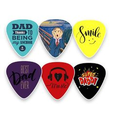 Creanoso Dad Guitar Picks Celluloid Medium (12-Pack) - Unique Gifts for Superhero Fathers and Daddy