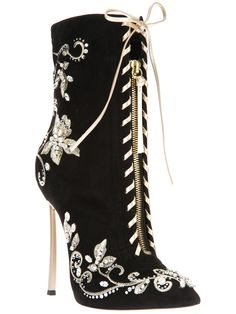 Casadei Embroidered Stiletto Boot in Black | Lyst