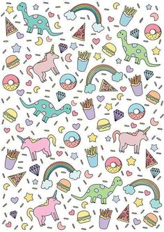 dinasours, rainbows, donuts, fryes, diamonds, sprinkles, stars, pizza, moon and hearts!