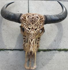 Dear Santa..... :) Hand Carved Buffalo Skull with Swirls pattern