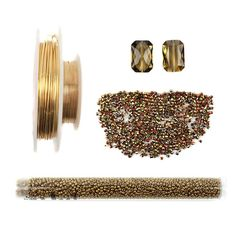 Glamorous in Gold part 2 Jewellery kit inc;Swarovski Crystal, True2 Fire Polish Crystal Czech Seed Beads and Gold coloured copper wire I love the beads !!