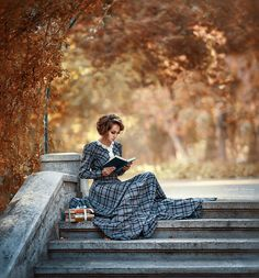 candies-for-my-eyes: Woman reading on the steps. (via 500px / Margo by Irina Dzhul)