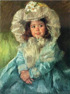 mary cassatt art | Margot In Blue - Mary Cassatt Paintings Wallpaper Image