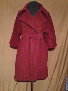 Пальтишко на запах(эконом вариант) - бордовый,пальто на весну,пальто на заказ