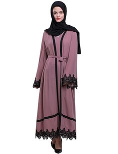 47f773cbdf5 Women s Elegant Muslim Kaftan Dubai Islamic Abayas Long Sleeve A Line Maxi  Dress - Dark Pink - CE189QZ6A8I