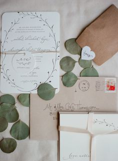 Ivory Wedding Invitations With Foliage Design