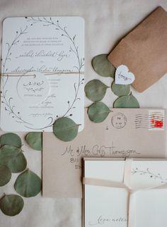 Ivory Wedding Invitations With Foliage Design