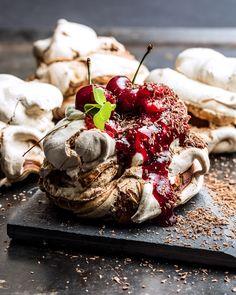 Chocolate pavlova with cherries. Chocolate Pavlova, Red Berries, Camembert Cheese, Cherry, Dairy, Fruit, Food, Passion, Cream