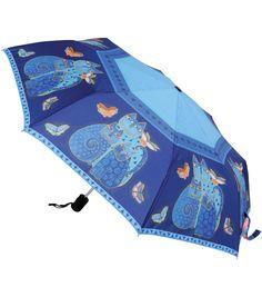 Laurel Burch Compact Umbrella- Indigo Cats | Jo-Ann