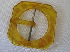 Vintage back Carved Flower Applejuice Bakelite Belt by abandc, $16.55