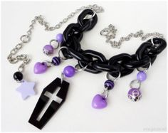 Coffin Necklace, Black and Purple, Silver - Visual Kei, Pastel Goth, Kawaii Jewelry