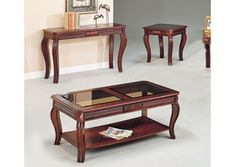 Better equip your living room with the Acme Furniture Overture 3 Piece Cherry Coffee Table Set for some stunning, transitional-style serving options. Cherry Coffee Table, 3 Piece Coffee Table Set, Coffee And End Tables, End Table Sets, Glass Furniture, Acme Furniture, Living Room Furniture, Living Room Decor, Tea Table Design