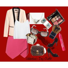 Valentine's Day Outfit by cailynharley16 on Polyvore featuring Alice + Olivia, H&M, New Look, Laura Mercier, NYX, Trish McEvoy, Biltmore, DateNight, ootd and fashionset