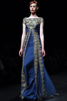So beautiful! So much historical influence!! #blue #medieval #gown #princess  #Georges #Hobeika
