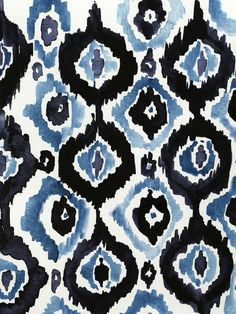 blue and black ikat watercolor