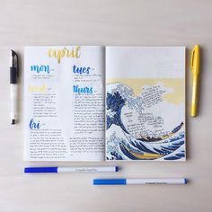 This is such an amazing idea for the bullet journal! Every year I get more organized and I love it! Can't wait to try this idea in my own planner! Waves of life bullet journal spread! Bullet Journal Themes, Bullet Journal Spread, Bullet Journal Layout, Bullet Journal Inspiration, Bullet Journals, Planners, My Notebook, Stationery, Lettering