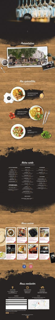 Long-scrolling One Pager for Cafe Du Centre featuring an aerial view of food and table top items.