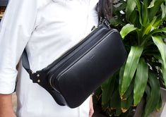 Leather Bag Pattern (PDF Files): Sling Bag, Bum Bag (with how to guide) Leather Fanny Pack, Leather Backpack, How To Make Leather, Leather Wallet Pattern, Small Notebook, Stitch Lines, Bum Bag, Leather Craft, Bag Making