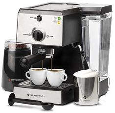 7 Pc All-In-One Espresso Machine & Cappuccino Maker Barista Bundle Set w/Built-In Steamer & Frother (Inc: Coffee Bean Grinder, Portafilter, Milk Frothing Cup, Spoon/Tamper & 2 Cups), Stainless Steel - Kitchen Appliances Cappuccino Maker, Espresso Maker, Espresso Cups, Espresso Coffee, Coffee Maker, Latte Maker, Jura Espresso, Espresso Machine Reviews, Best Espresso Machine
