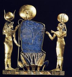 A pectoral depicting the birth of the sun from the burial of Queen Kama on Leontopolis mother of Osorkon III and possibly wife of Shoshenq IV, The ram headed god Khnum is flanked by the goddesses Hathor and Maat. Egypt. Ancient Egyptian 3rd Intermediate, 23rd Dynasty, c 890 BC.