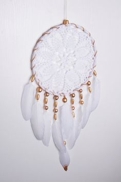 Crochet White Doily Large Gold beads Dream Catcher White wall