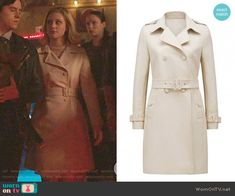 Betty's cream trench coat on Riverdale.  Outfit Details: https://wornontv.net/90420/ #Riverdale