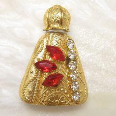Vintage Perfume Bottle Rhinestone Gilt Overlay