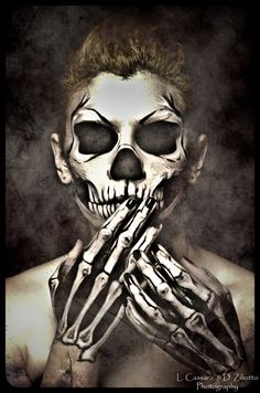 Skull project - Make-up by Onirica (I like the introduction of the bones of the hands too in this one. As an MMA fighter the hands are important) ~ C