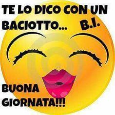 Buona giornata Emoticon Feliz, Love Smiley, Italian Quotes, Good Morning, Fictional Characters, Gifs, Diana, Pandora, Happy Day