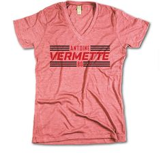 Antoine Vermette Officially Licensed NHLPA Chicago V-Neck Mens XS-2XL Antoine Vermette Striped Black Font