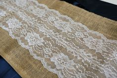 Burlap & Lace Table Runner with a Variety of Lace Color Options. Great for Weddings and Other Special Events. Rustic and Chic. Burlap Lace Table Runner, Lace Runner, Table Runner And Placemats, Table Runner Pattern, Quilted Table Runners, Hessian, Autumn Table, Burlap Fabric, Rustic Shabby Chic