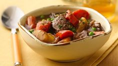 Cook sweet onions to caramelized perfection, then slow cook with beef and vegetables for a satisfying stew.