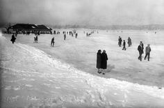 Greenlake when it froze over in the 1920s. #Vintage #Seattle