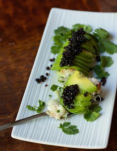 """Avocado Crab Roll with Soy Sauce """"Caviar"""" by FUJI MAMA. These """"caviar"""" balls look so cute! They are actually little pockets of soy sauce. @Lauren McCarty."""