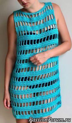 Beach dress coverup - Sunny Days, sizes S, MM & Ms summer crochet dress by AGartextil on Etsy Crochet Beach Dress, Crochet Tunic, Crochet Clothes, Crochet Bikini, Knit Crochet, Crochet Dresses, Dress Patterns, Crochet Patterns, Sweater Patterns