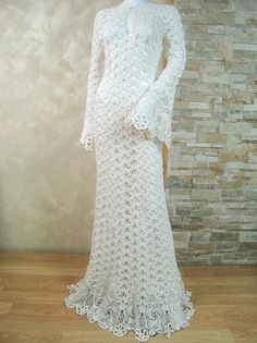 Exclusive ivory crochet wedding dress, handmade crochet bride dress, lace bridal…