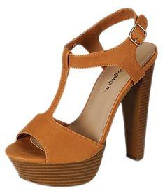 Breckelles Women's BRINA Peep Toe High Heel T-Strap Platform Sandals