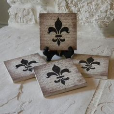 Craft ideas and more from Davet Designs: Stamped Tile Coasters - Fleur de Lis
