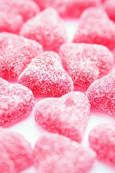 Pink candy hearts; yum!
