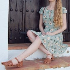 summer, floral dress, sandal, fashion, style, spring, mint, retro, dress